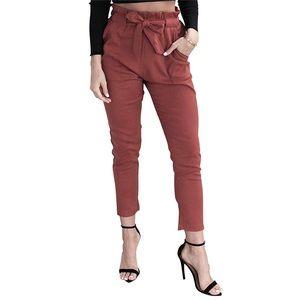 Simplee  Paperbag belt waist Trouser Pants